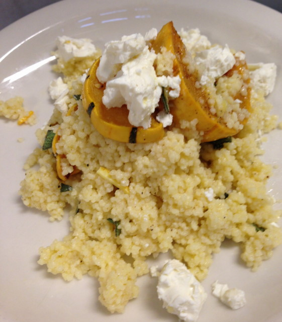 With our cold roasted chicken, a salad of cous cous, roasted winter squash, sage and Greek feta.
