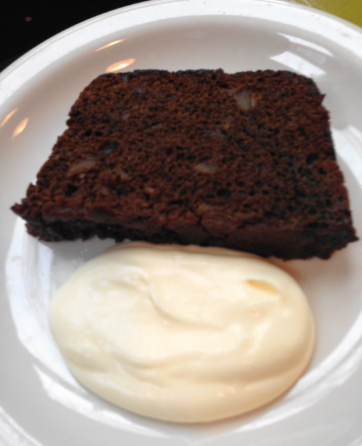 Candied ginger spice cake served with lemon creme
