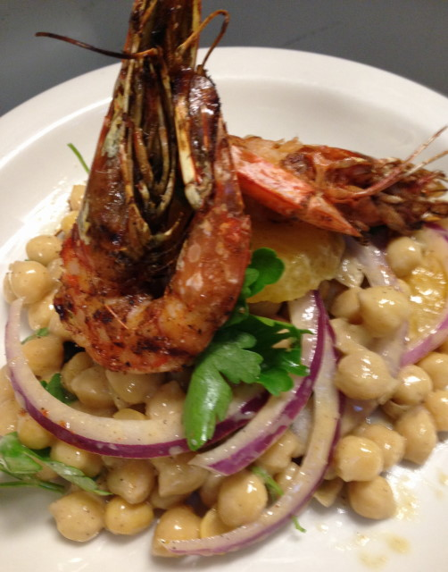 Grilled marinated gulf shrimp, chickpea salad with orange, parsley and red onions