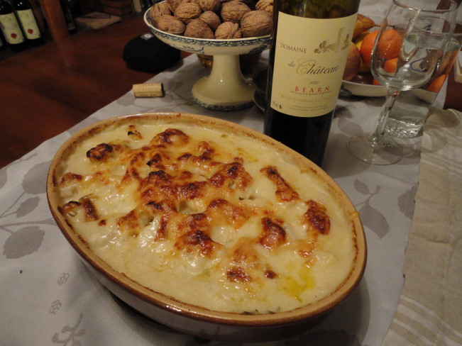 Gratin of cauliflower, made with both milk and creme fraiche, topped with Comte cheese.