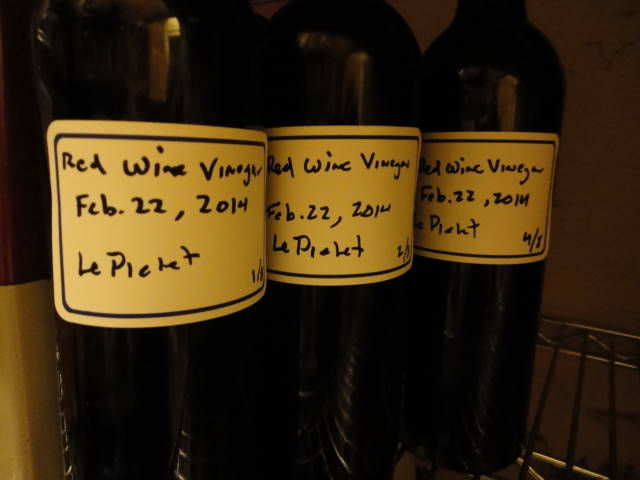 Red wine vinegar, raised in an oak barrel, and bottled for aging.