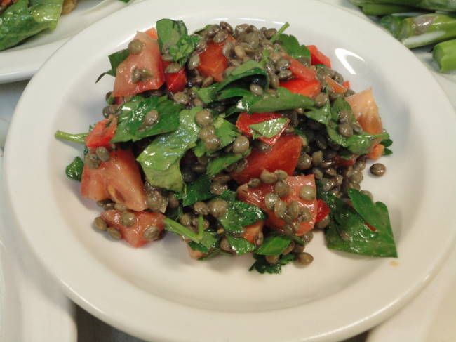 Served with our cold roasted half chicken, lentil tabouleh with red peppers, tomatoes, parsley and cumin vinaigrette.
