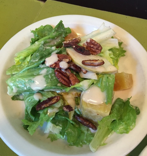 Salad of escarole, roasted yellow beets, winter pears, toasted pecans and roasted garlic vinaigrette.