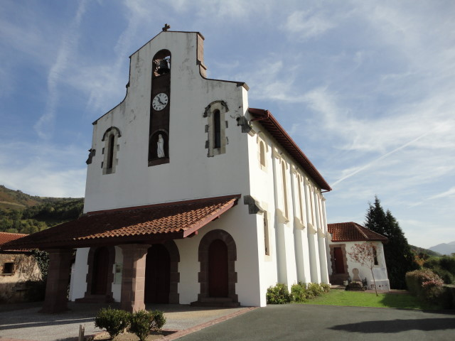 Irouleguy's church, with its whitewashed walls and red tile roof, is pure Basque.