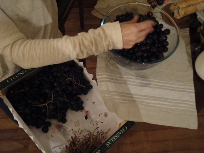 """Tirage a main""...sorting the grapes from the stems."