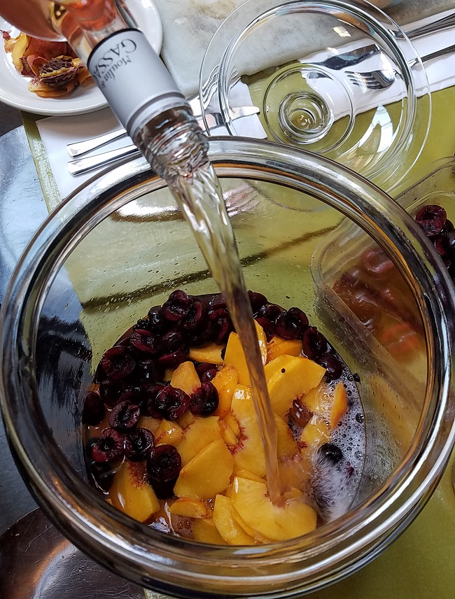 Joanne's special recipe for sangria, featuring rosé  from the Languedoc, peaches and blackberries from her back yard!