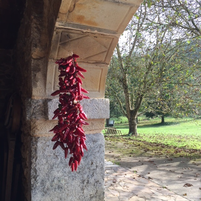 The entrance to Biezko Basserria, with a string of sweet peppers drying in the sun.